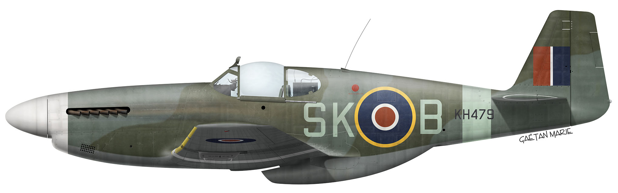 UK, Mustang Mk III, KH479, SK-B, John Plagis, No 165 Squadron, early 1945