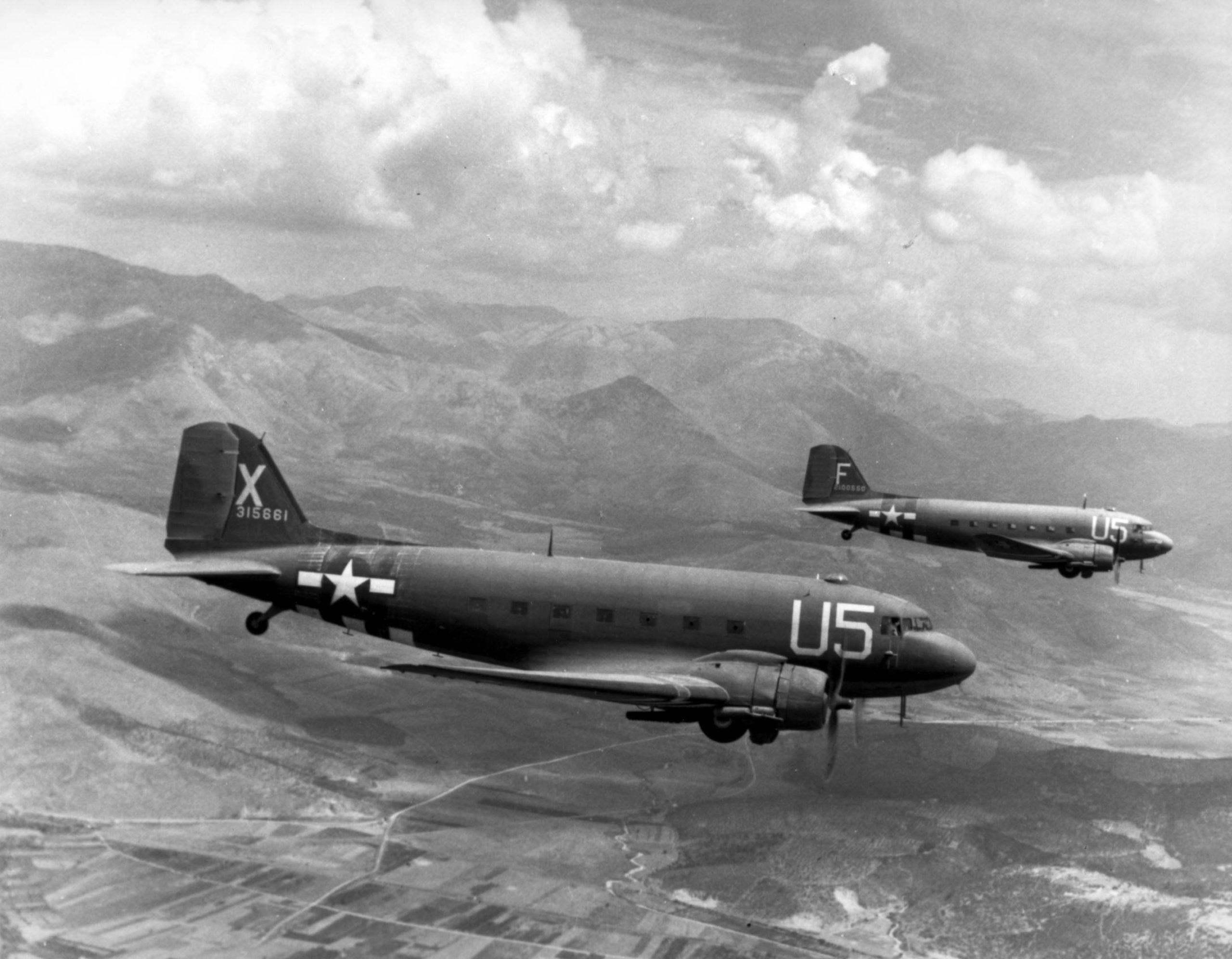 Two_USAAF_C-47A_Skytrains
